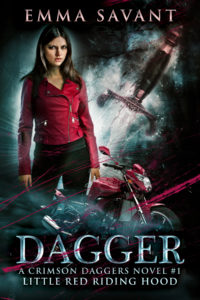 A brunette girl in a red leather jacket stands beside a motorcycle and a glowing dagger.