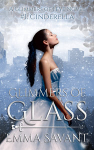 Glimmers of Feye cover. A brunette girl in a white ballgown looks up. Behind her is the city skyline of Portland.